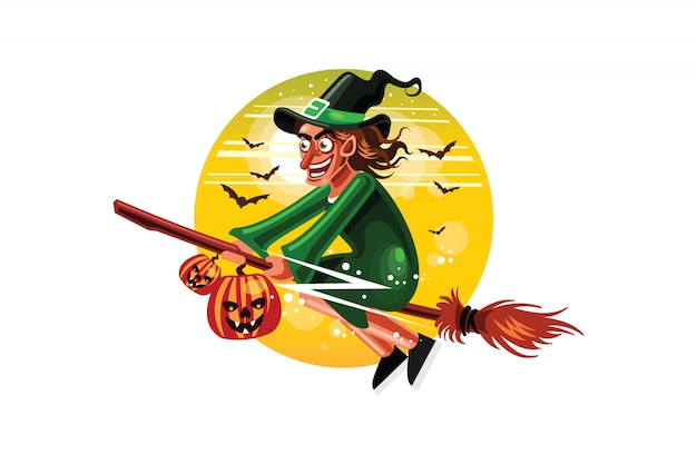 ハロウィーンの魔女がほうきで飛ぶ Premiumベクター