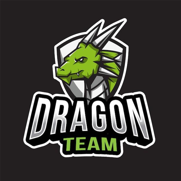 ドラゴンチームのロゴのテンプレート Premiumベクター