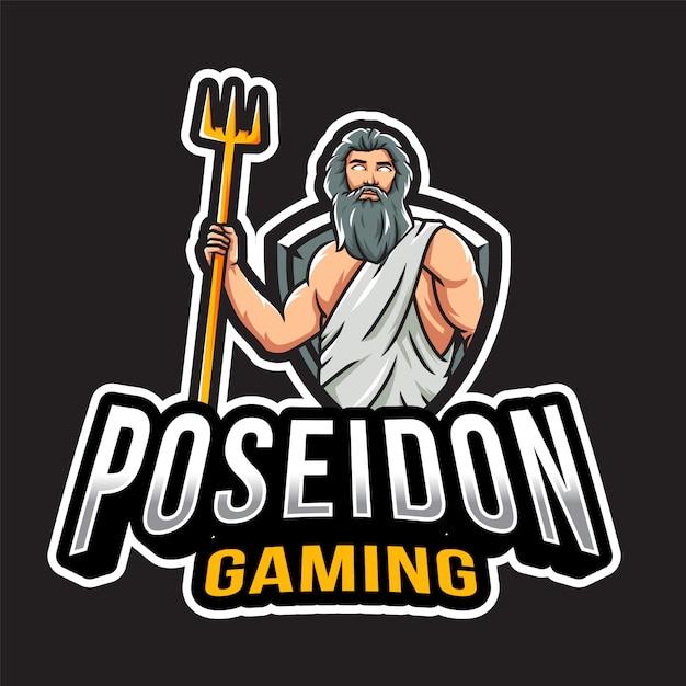 ポセイドンゲームのロゴのテンプレート Premiumベクター