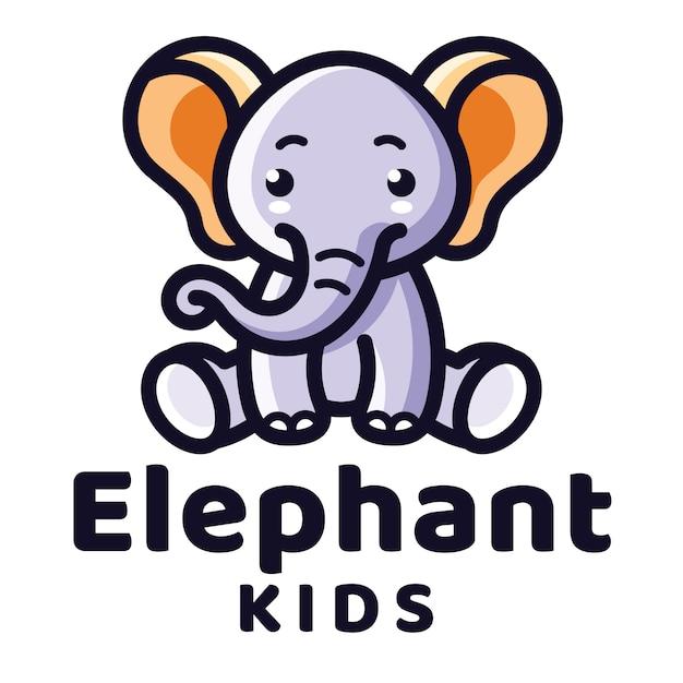 象の子供のロゴのテンプレート Premiumベクター