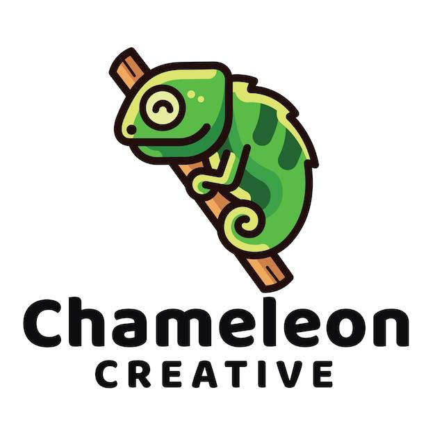 カメレオンクリエイティブのロゴのテンプレート Premiumベクター
