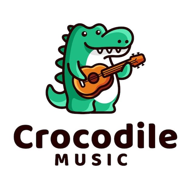 クロコダイルプレイギターロゴ Premiumベクター