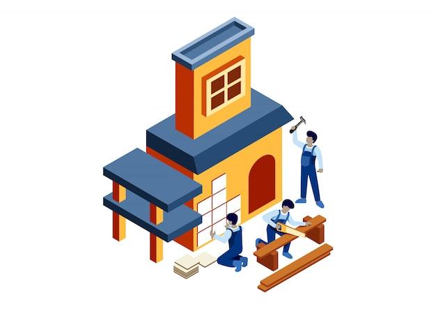 Изометрические построить дом Premium векторы