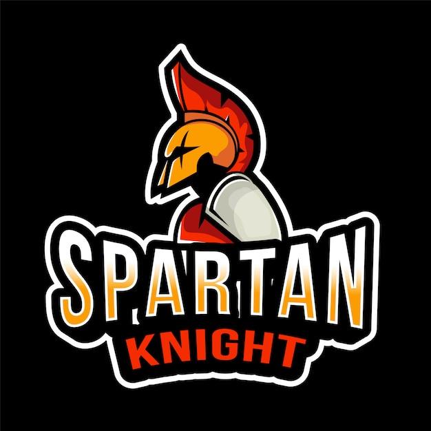 Шаблон логотипа спартанский рыцарь эспорт Premium векторы