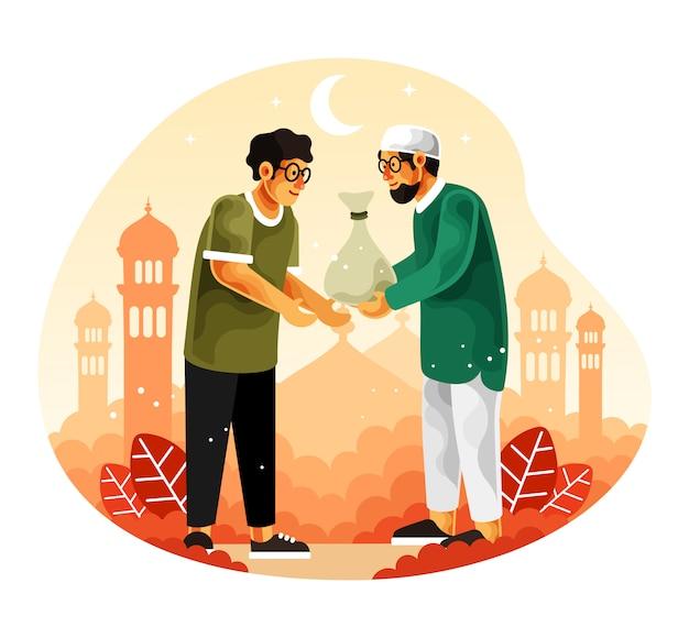 イスラム教徒はラマダンの月に施しまたはザカートを与える Premiumベクター