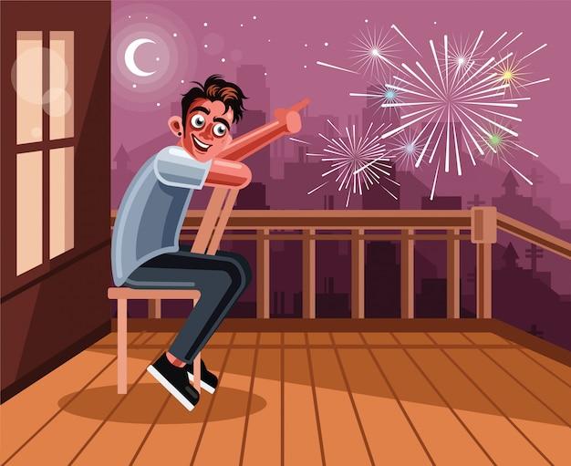 Молодой человек смотрит фейерверк у себя дома Premium векторы