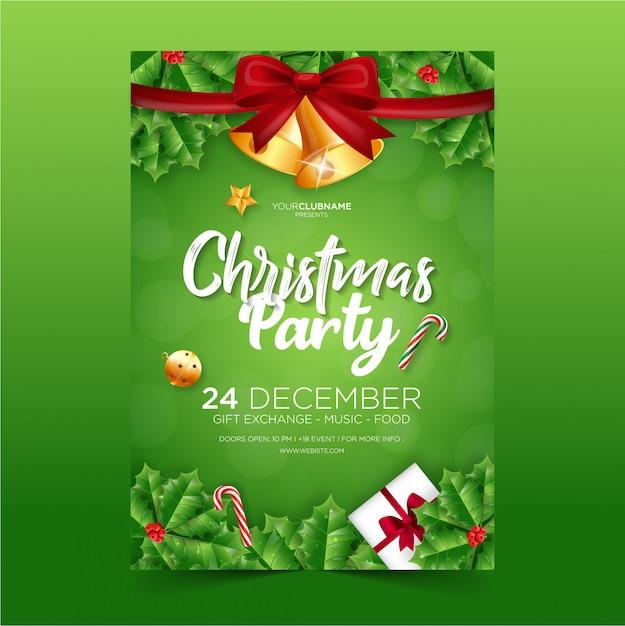 クリスマスパーティーのポスター Premiumベクター