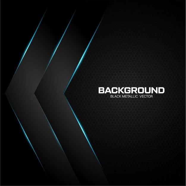 光沢のあるブルーと黒のメタリックな背景 Premiumベクター