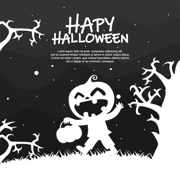 Хэллоуин детский костюм партии силуэт Premium векторы