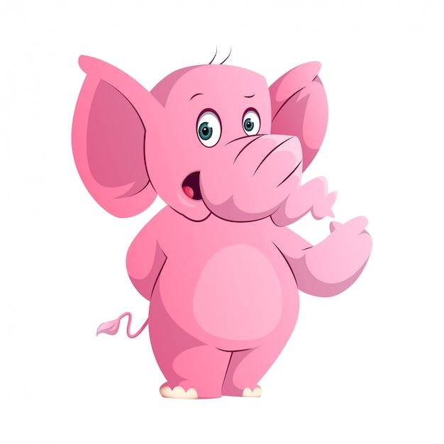 立っていると彼の手を指しているかわいいピンクの象 Premiumベクター