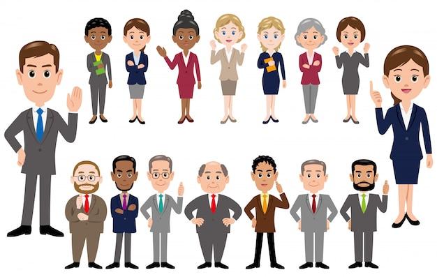 ビジネス人々、さまざまなポーズで会社員のセットです。 Premiumベクター