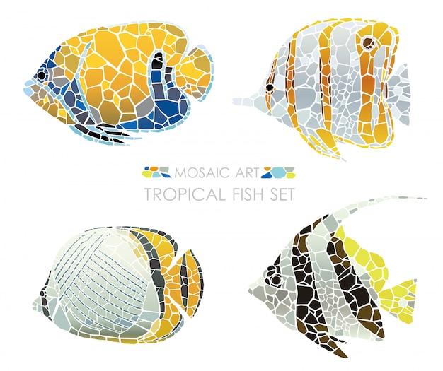 分離された熱帯のモザイク魚のセットです。ベクトルイラスト Premiumベクター