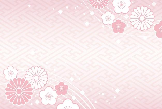 伝統的なお祝いの花と植物と日本の背景 Premiumベクター