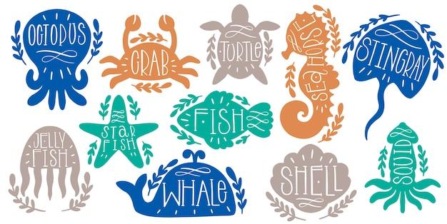 Морские животные морской набор текста надписи. текст в форме океана Premium векторы