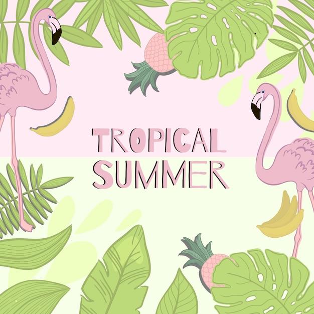 Рамка вектор тропического лета. зеленые листья, фламинго, банан, ананас. Premium векторы