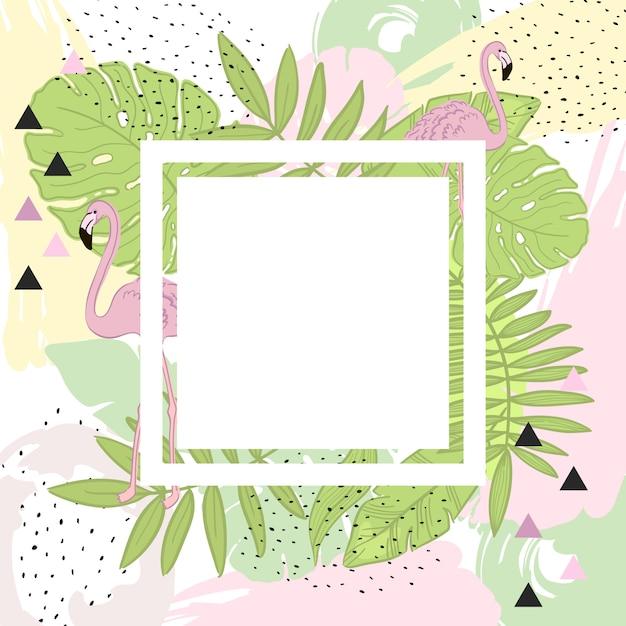 熱帯の葉とフラミンゴの夏フレームバナー Premiumベクター