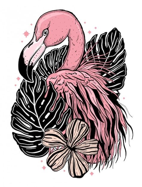フラミンゴタトゥー熱帯動物の鳥。夏の自然画。 Premiumベクター