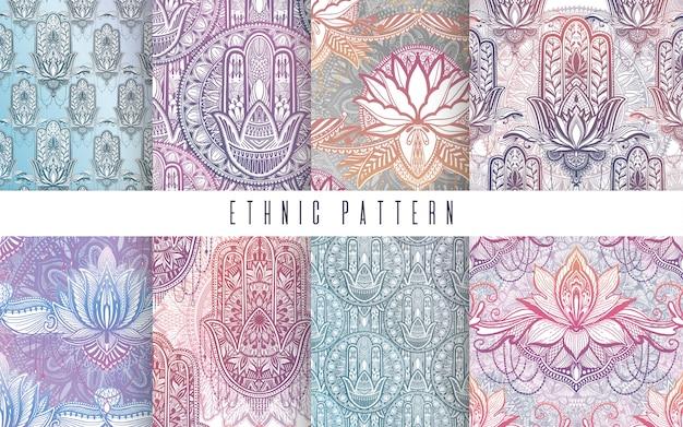 アートパターンは、蓮の花曼荼羅を設定します。民族の抽象プリント。 Premiumベクター