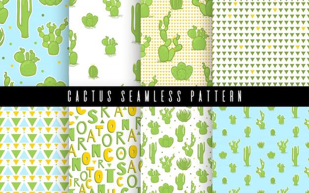 パターンは、シームレスなサボテンと多肉植物のスタイルを設定します。フラット描画要素の設計 Premiumベクター