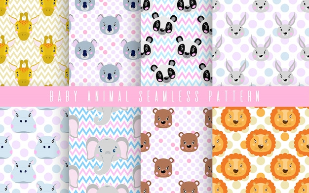 シームレスパターンは、かわいい動物の赤ちゃんの色を設定します。プリント織物のための幸せなコレクション。 Premiumベクター