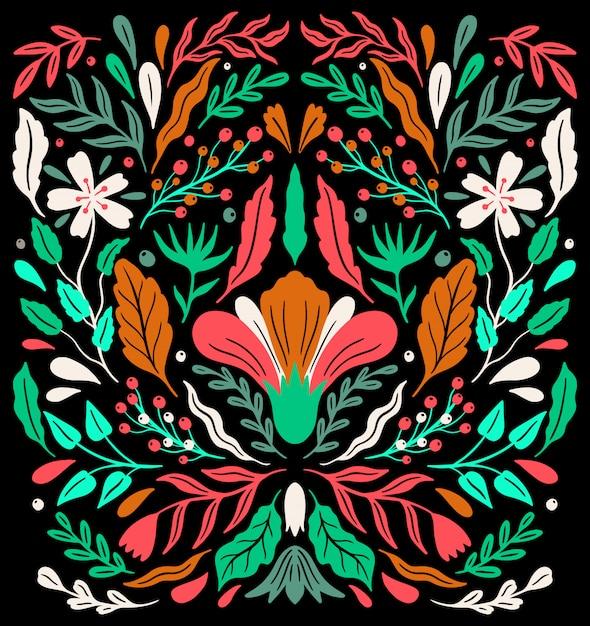 民族フォーク装飾花飾り。 Premiumベクター