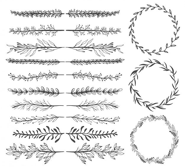 手スケッチベクトルヴィンテージ要素:花輪、葉、フレーム。 Premiumベクター