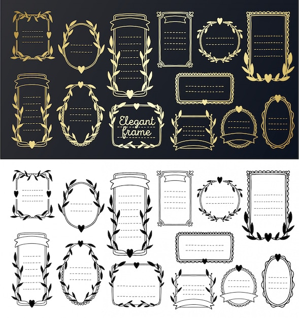 コレクションフレームゴールドの結婚式の招待状。花ボーダーヴィンテージ手描き、装飾的なエレガントな要素。 Premiumベクター