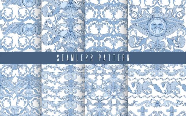 シームレスパターンは、バロックブルーの色を設定します。ヴィンテージ花柄ビクトリア朝装飾用。 Premiumベクター