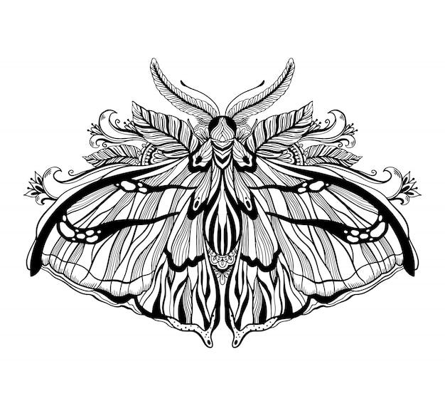 Графическая иллюстрация с мистической моли и оккультных рисованной символы. астрологическая и эзотерическая концепция масонства. старый винтажный стиль. Premium векторы