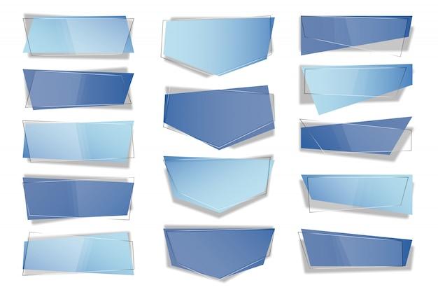 トレンディな平らな幾何学的ベクトルバナーのセットです。 Premiumベクター