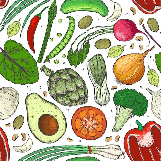 スケッチの野菜のシームレスパターンをベクトル。 Premiumベクター