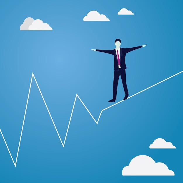 ロープを歩くビジネスマン。ビジネスコンセプトにおけるリスクの課題 Premiumベクター