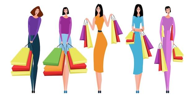 購入と一緒に買い物袋を運ぶ人々のコレクション。 Premiumベクター
