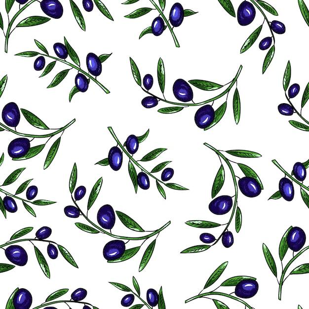 シームレスなベクターパターンオリーブと白い背景の上の葉を持つオリーブの枝 Premiumベクター