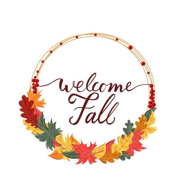 秋と葉を歓迎するブラシフレーズと背景 Premiumベクター