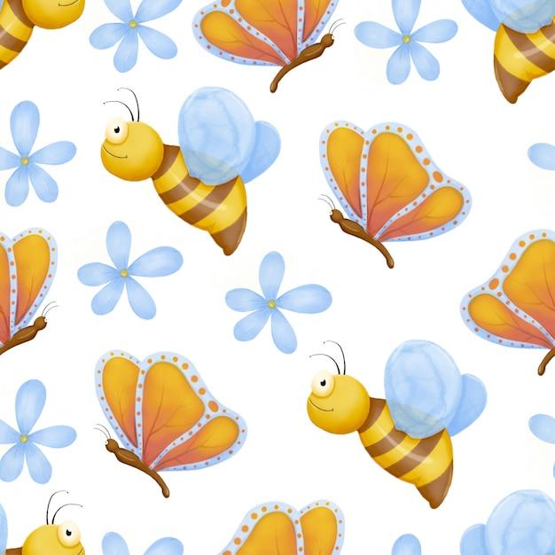 Симпатичные ошибки бесшовные модели. детский рисунок насекомых, летающих бабочек и ребенка божья коровка. цветочная бабочка, насекомое и жук. Premium векторы