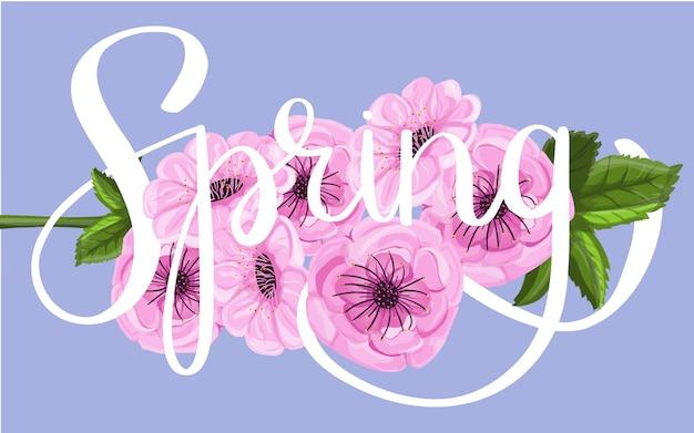 春の花の背景にレタリング Premiumベクター