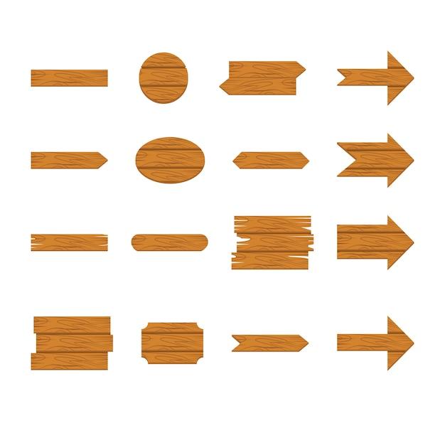 木製看板と白い背景で隔離の矢印アイコンセット Premiumベクター