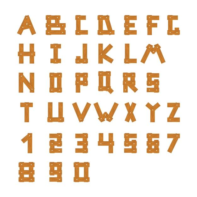 Деревянные блоки алфавита с буквами и цифрами Premium векторы