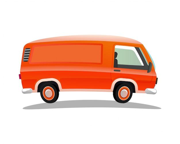 Красный рабочий грузовик на белом фоне Premium векторы