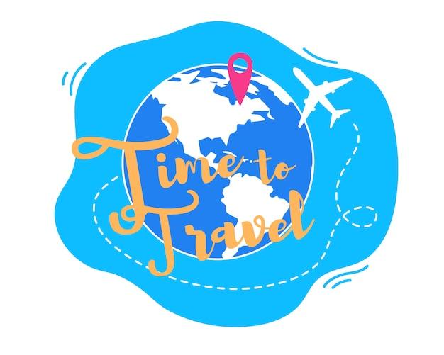 Время путешествовать по всему миру с плоским векторный концепт Premium векторы
