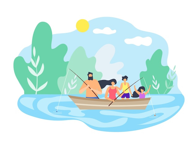 川釣りの天気の良い日に浮かぶボート。 Premiumベクター