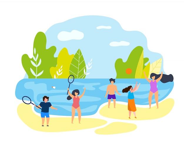 夏の家族での休暇のビーチでの子供たち。 Premiumベクター