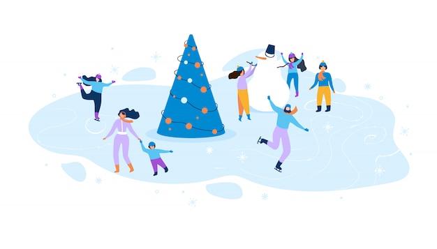フラットイラスト子供と大人のための冬の楽しみ。 Premiumベクター