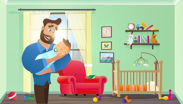 生まれたばかりの赤ちゃんを保持しているベクトル若いひげを生やした男 Premiumベクター