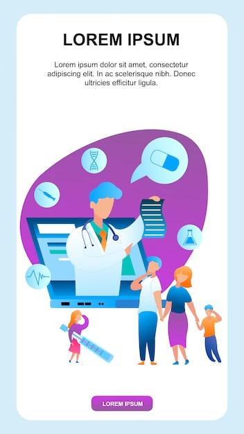 病気の子供を持つ家族は小児科医と通信します Premiumベクター