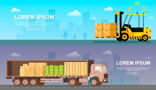 Вид сбоку открытого грузовика безопасной доставки Premium векторы