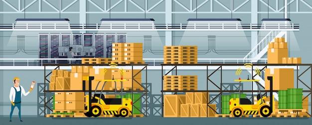 棚の上の商品と近代的な倉庫の室内空間 Premiumベクター