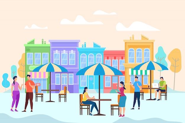 オープンエアのカフェのテーブルに座ってリラックスできる人たち Premiumベクター