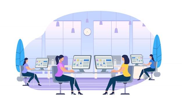Молодые женщины, работающие за компьютерами, сидящие за партами Premium векторы